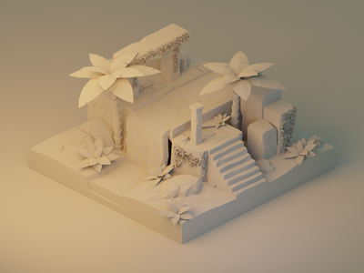Ancient Ruins: Model Detail magic clay render ancient temple vines stairs cave water palm trees ruins polygon runway lowpoly lighting isometric modeling illustration blender