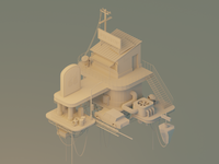 Cloud66: Model Detail future sci-fi space platform cables wires pit stop stairs clay render plutonium bar station polygon runway lowpoly lighting isometric modeling illustration blender