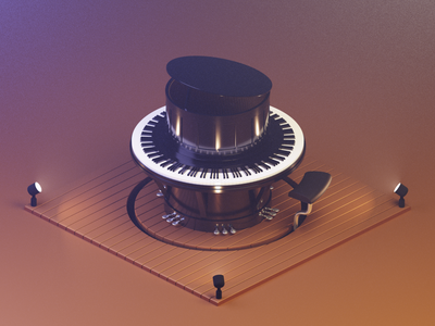 Playing Around perform play stage lights pedals keyboard keys instrument round piano piano isometric lighting modeling illustration blender