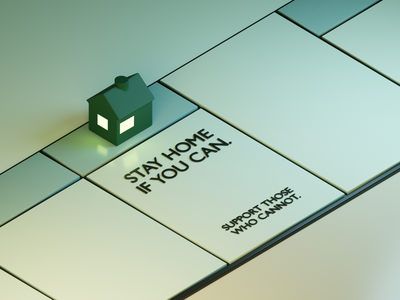 Bored Games property safety safe lonely alone social distancing social distance game board game home stay home self isolation isolation house monopoly lighting isometric modeling illustration blender