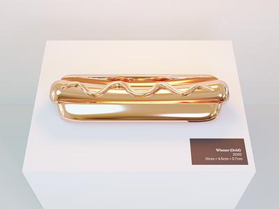 Haute Dog sculpture column display museum fine art fineart art gilded golden gold bun frank sausage wiener hot dog hotdog lighting modeling illustration blender