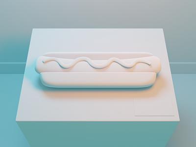 Haute Dog: Model Detail b3d white museum fineart fine art art food mustard buns frankfurter sausage hot dog hotdog clay render lighting modeling illustration blender
