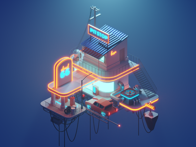 Polygon Runway: Cloud66 blender lighting modeling isometric illustration
