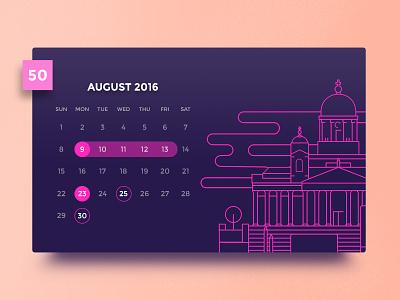 Day #50 - Calendar line illustration john salinero 100daysofui dayliui helsinki august dark ui calendar