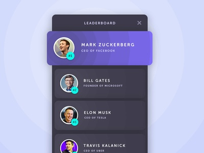 Day #61 - Leaderboard helsinki 100 days of ui list dailyui dark ui leaderboard