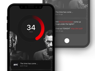 Day #92 - iPhone X Concept UI iphone x daily ui feed tweets timer ufc mockup
