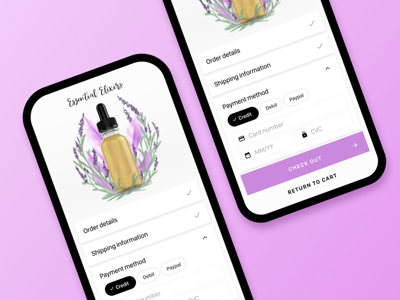 Rebound - Checkout view sketch rebound beauty cosmetics checkout ecommerce app dailyui ui