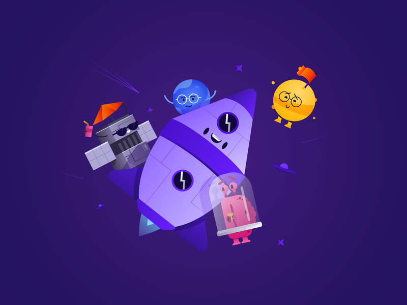 Family Space - final iteration woman ux ui space man illustration exploration concept character