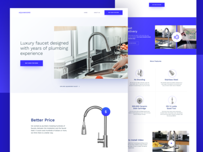 Aquamoore - Minimal Faucet brand logo water faucet minimal simple blue website web clean