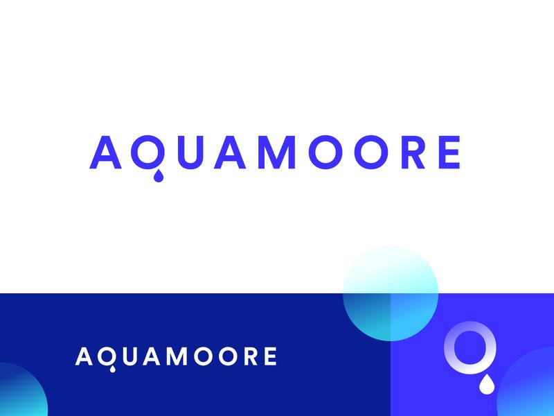 Aquamoore Branding monochrome bluish blue identity branding brand redesign logo faucet fluid water aqua