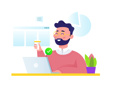 Professionally Designed Website You Can Install In Seconds happy coffee chart desk office copmupter man illustration wordpress template website character