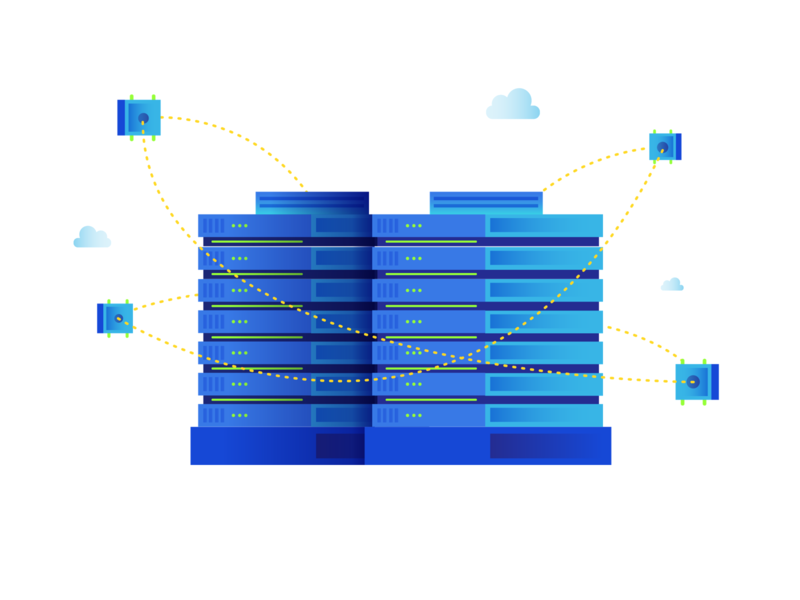 Cloud Storage color blue particles crypto tech illustration semiflat flat disk server space storage service cloud