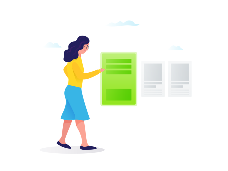 Choose The Right Content minimal cloud clean website content lady women woman color character ui illustration