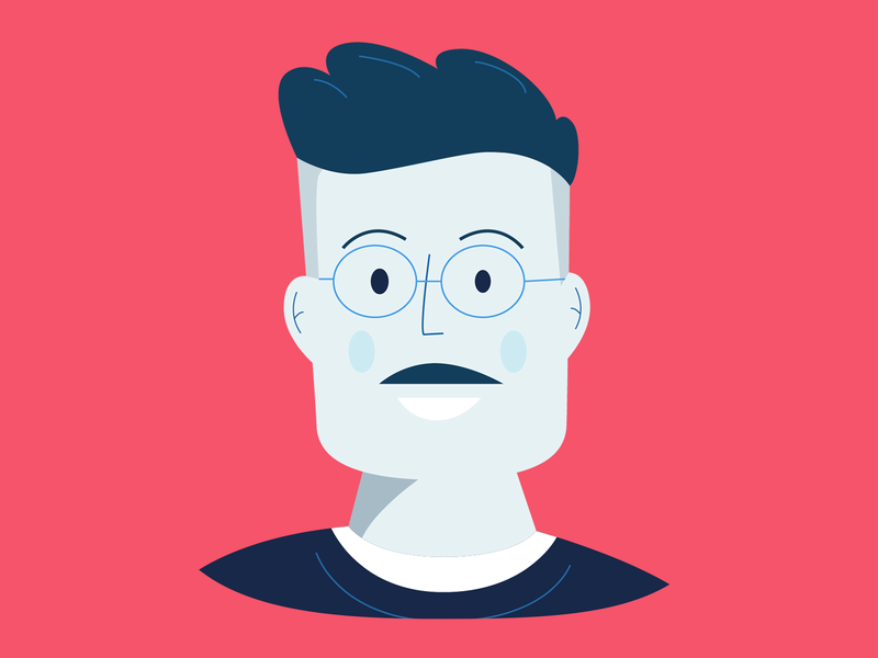 Frankie portrait head avatar clean men color character ui glasses illustration