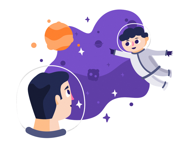 Space Exploration WIP family father kid planet space ui character illustration
