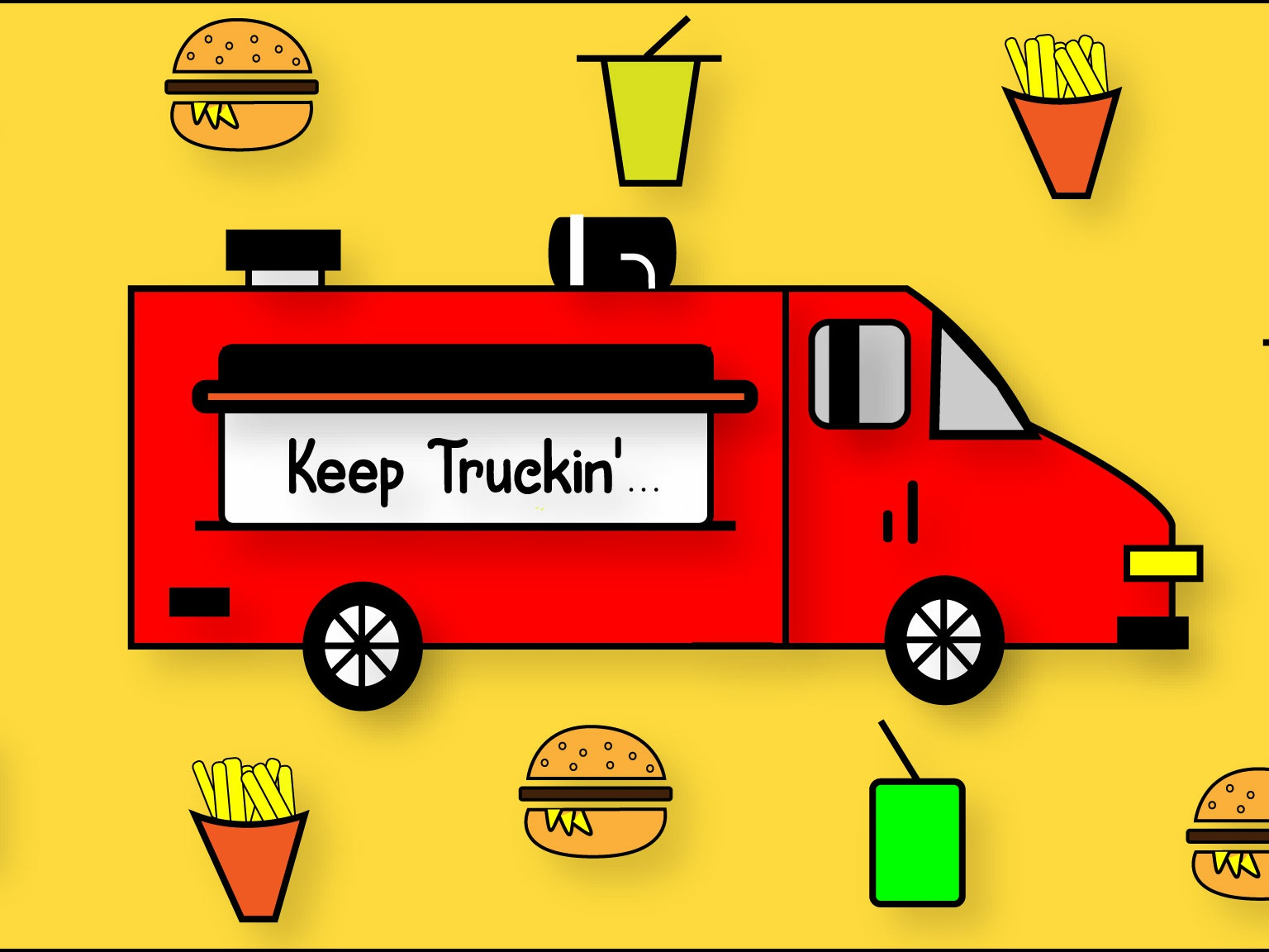 Keep Truckin... hanoded font keep truckin food truck drink fries food burger drop shadow logo portfolio design creative illustration adobe
