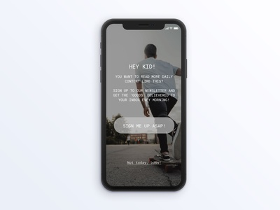 Sign up form on iPhone X