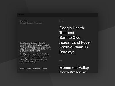 2020 Portfolio personal portfolio minimal black monochrome product webflow website