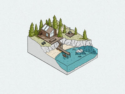 Cabin in the Woods procreate pen marker pen hot tub boat forest woods pine trees beach sea world miniature nature illustration