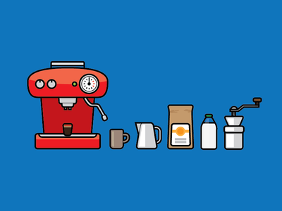 Tools of the coffee trade coffee illustration stroke blue machine beans grinder mug milk red flat