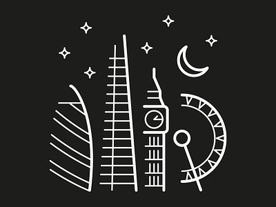 London by night night stars moon black white london the shard big ben eye gherkin capital