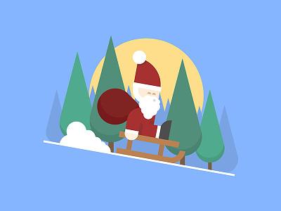Merry Christmas shapes geometric sun trees snow flat illustration santa christmas
