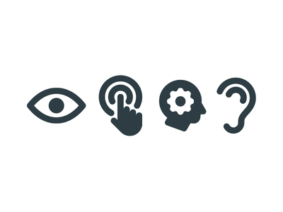 Accessibility inclusive health deepmind cognitive touch hear sight icons product accessibility