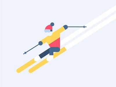 Winter Olympics Downhill Skiing winter sport snow skiing pyeongchang olympics illustration geometric downhill 2018