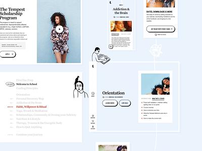 Tempest School Dashboard tutorials school photography menu cards illustration pastel product design dashboard tempest