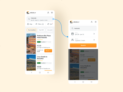 Online Hotel reservation Web Application usability application product booking hotel app travel search results search bar design ux ui
