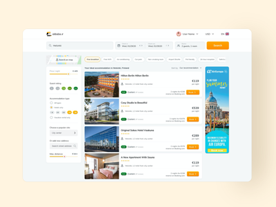 Hotel search result page search results travel ads filter tags booking hotels search bar search designs web product ux ui
