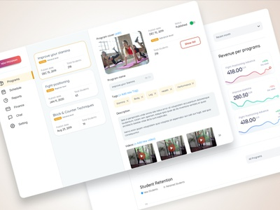Online training program management dashboard saas design product web dashboard b2b design ux ui