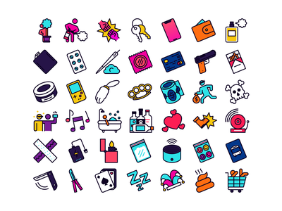 Crazy icons danger sex fighting fight alcohol drugs crazy minimalistic lines design illustration vector linear line minimal icons minimalism minimalist icon
