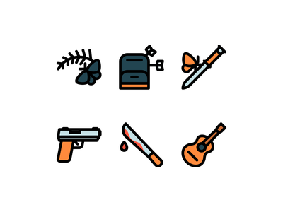 The Last of Us 2 icons gun video game videogame games game ellie the last of us 2 the last of us minimalistic lines design illustration linear vector line minimal icons minimalism minimalist icon