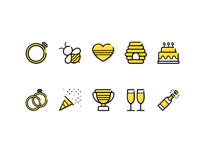 Bee party organizers planning honey yellow parties party bees bee minimalistic lines design illustration linear vector line minimal icons minimalism minimalist icon
