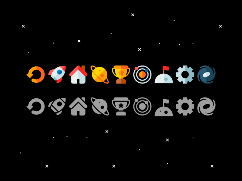 Space icons stars galaxy moon rocket planet space minimalistic design illustration vector minimal icons minimalism minimalist icon