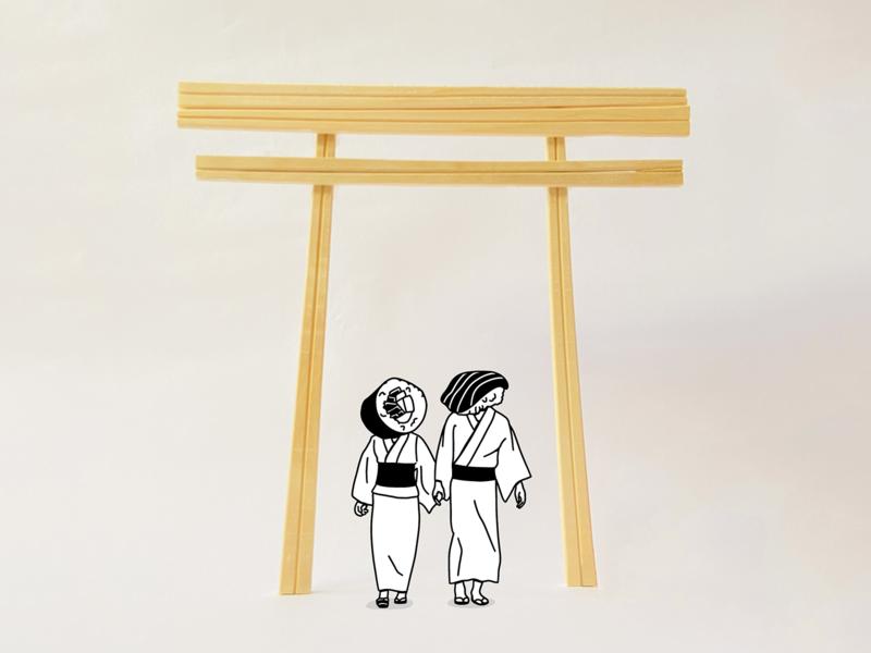 Torii gate kimono yukata nigiri sushi chopsticks chopstick japanese japan torii gate torii drawing minimalistic design illustration vector minimalism minimalist