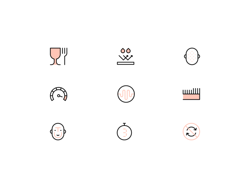 Exfoliation icons wellness beauty head face skin care skincare skin exfoliation lines minimalistic linear design line illustration vector minimal icons minimalism minimalist icon