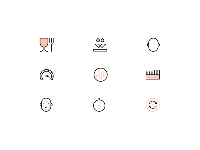 Exfoliation icons wellness beauty head face skin care skincare skin exfoliation lines minimalistic linear design line illustration vector minimal icons minimalism minimalist icon