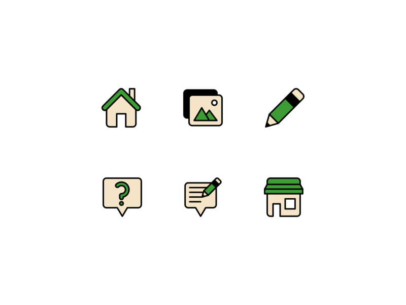Green icons image pencil store house green lines minimalistic linear design line illustration vector minimal icons minimalism minimalist icon