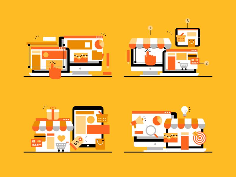 Digital marketing illustrations online store online marketing online store laptop computer digital marketing marketing digital illustrations minimalistic design illustration vector minimal icons minimalism minimalist icon