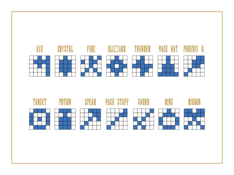 Final Fantasy bingo videogame bingo rpg final fantasy 8 bit pixelated pixelart pixel minimalistic design illustration vector minimal icons minimalism minimalist icon