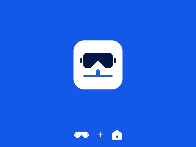 VR houses app real estate virtual reality vr houses house app icon app branding minimalistic design illustration vector minimal icons minimalism minimalist icon