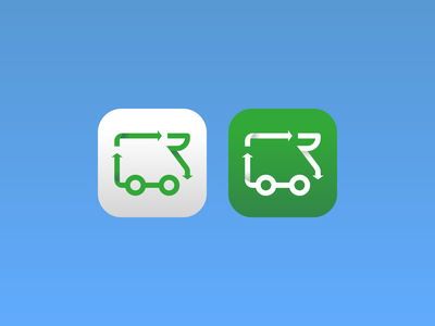 RV recycle app icon environment green car truck van recycle rv branding minimalistic design illustration vector minimal icons minimalism minimalist icon