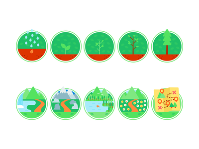 Nature badges waterfall mountain lake forest nature minimalistic design illustration vector minimal icons minimalism minimalist icon