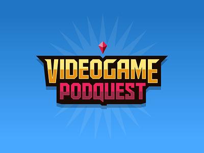 VIDEOGAME PODQUEST podcast logo pixel art pixelart pixel radio video games video game videogames videogame podcast minimalistic illustration vector minimal minimalism minimalist icon branding design logo