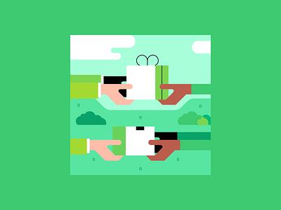 Trading app illustrations gifts gift exchange trading trade design illustration vector minimalism minimalist