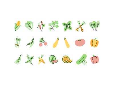 Vegetables icons tomatoe tomato lettuce carrot corn fruits fruit vegetables vegetable design illustration vector minimal icons minimalism minimalist icon