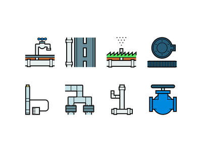 Pipes icons watering water pipes pipe lines linear line design illustration vector minimal icons minimalism minimalist icon