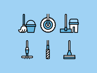 Moping icons cleaning clean moping mope linear lines line design illustration vector minimal icons minimalism minimalist icon